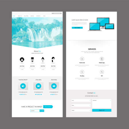 design: Modern Clean One Page Business website design template. Vector Design