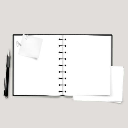 open notebook: Open Notebook Vector, with note paper and sheet paper, Illustration