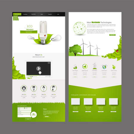 Eco Business One page website design template. Vector Design. Çizim