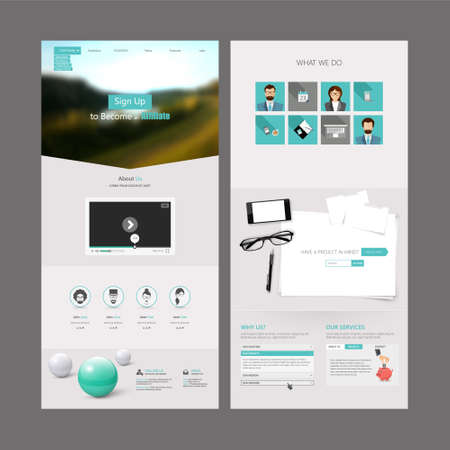 Clean Modern One page website design template. All in one set for website design includes harm one page website template