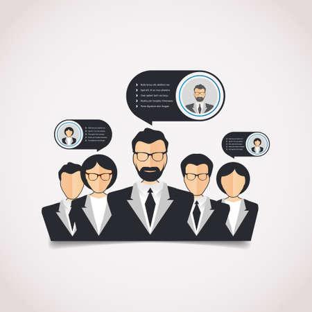 relaciones humanas: Estilo plano con-informaci�n gr�fica moderna red de recursos humanos corporativa de las relaciones humanas, el trabajo en equipo