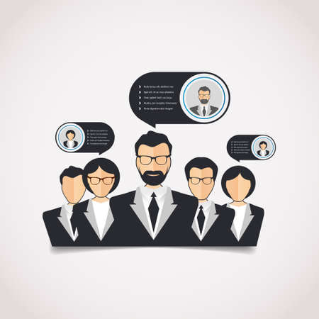 human relations: Flat style with modern info-graphic web of corporate HR human relations, teamwork Illustration
