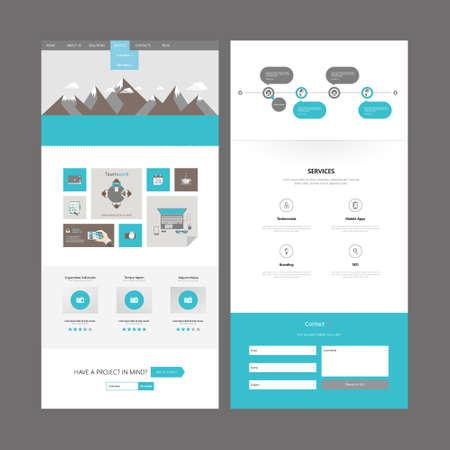 플랫 한 페이지 웹 사이트 디자인 템플릿입니다. 벡터 디자인