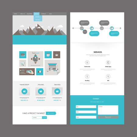 Flat One page website design template. Vector Design