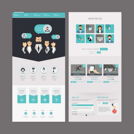 responsive design: Modern Clean Ffat One page website design template.