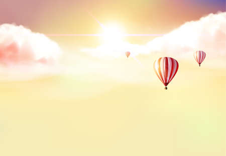 Fantasy Vector Background, Sunset and hot air ballons on cloudy sky. Illustration