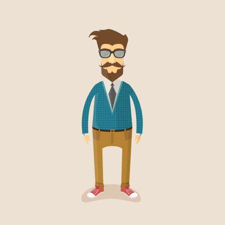 character illustration: Hipster character illustration design.Vector