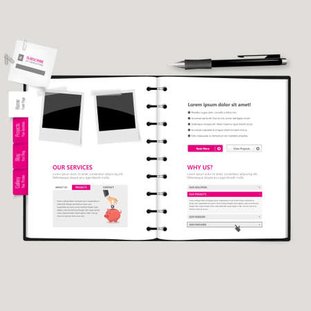 vector web design elements: Website template Open notepad with bookmarks