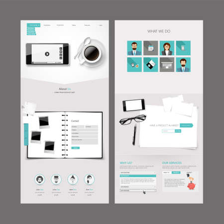 vector web design elements: Theme Clean Modern Office One page website design template.