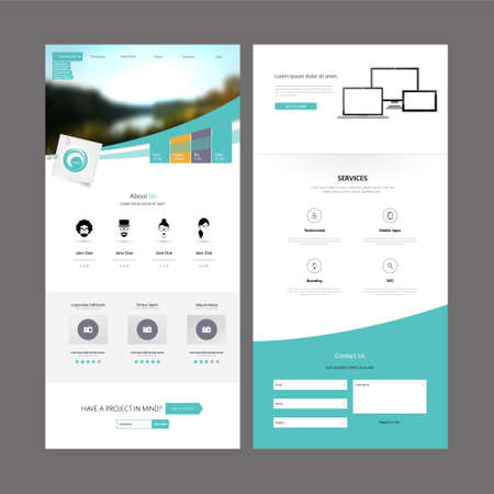 web design template: Modern Clean One Page Business website design template. Vector Design