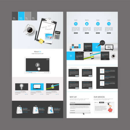 One Page Business website design template. Vector Design. Illustration