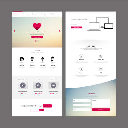 vector web design elements: Modern Clean One Page Business website design template. Vector Design