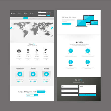 web design banner: Modern Clean One Page Business website design template. Vector Design