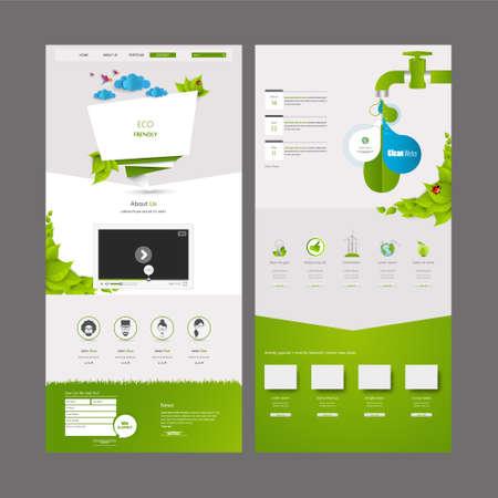 Eco Business One page website design template. Vector Design. Ilustrace