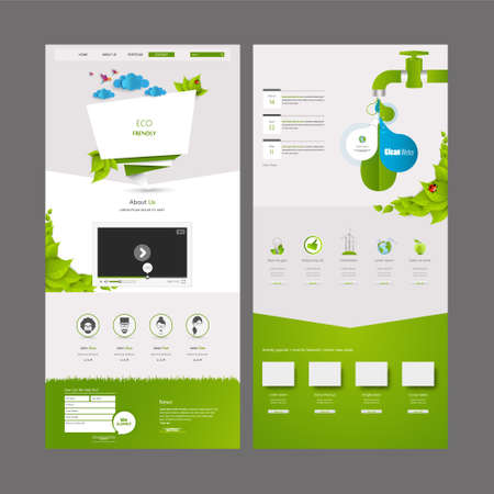 Eco Business One page website design template. Vector Design. Illustration