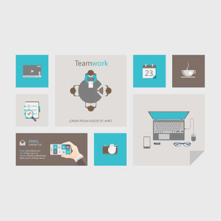 users video: Vector flat user interface UI design templates infographic