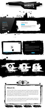 grungy email: Grunge Website template, website elements, Vector