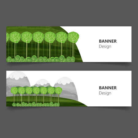 green environment: Hand draw Banners with abstract Green Horizontal Landscape Nature