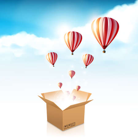 open box with the outgoing light and hot air balloon. Vector