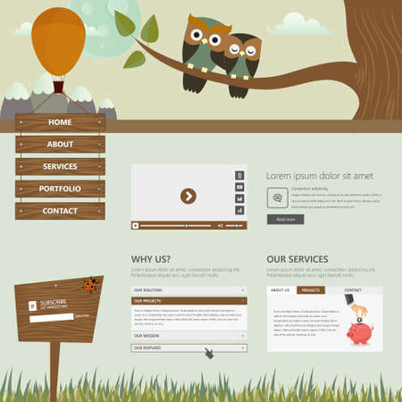 website buttons: Flat Creative Website Templates, with cute owls illustration,