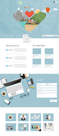 web site design: Flat One Page Website Design Template