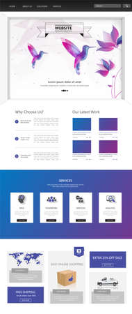 website banner: One Page Website Template. Vector illustration.