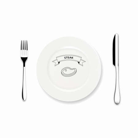 stake: Vector Icon Dinner plate with knife and fork design, Can we use Restaurant menu design