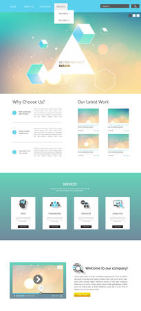 box size: Website template design and abstract bokeh header, One page style. Vector Illustration