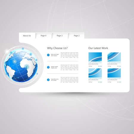 submenu: Minimal Website Template Design Illustration