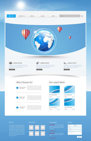wordpress: One Page Website Template, White and Blue Vector Design