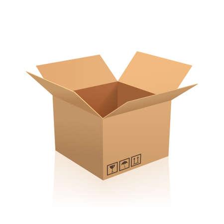 cajas de carton: ilustración vectorial caja abierta.
