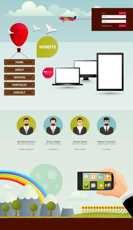 rainbow slide: Creative Website Design Template Vector Illustration. Illustration