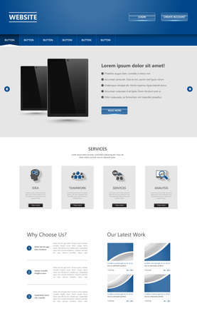 vector web design elements: One Page Website Template. Vector illustration.