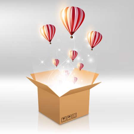 boîte ouverte avec la lumière sortant et ballon à air chaud. Vecteur