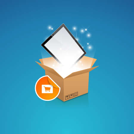outgoing: open box with the outgoing light and smart phonetablet, Vector