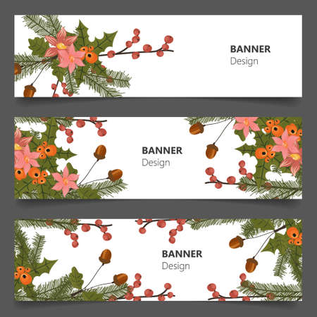 beautiful flower: Retro beautiful flower banners