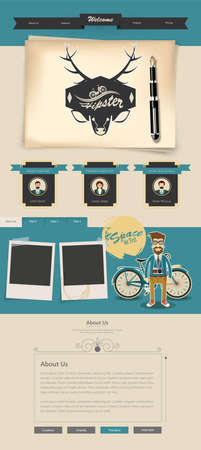 web page: Creative Professional Website Design Template, Hipster Theme Illustration