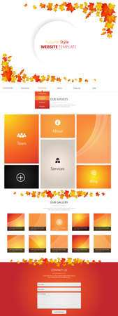 joining services: Flat One Page Website Template with Autumn Leaves
