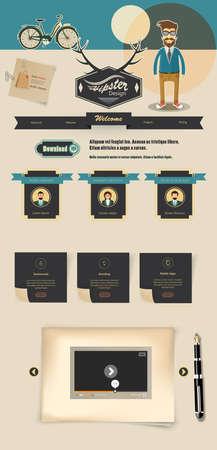 web site: Creative Professional Website Design Template, Hipster Theme Illustration