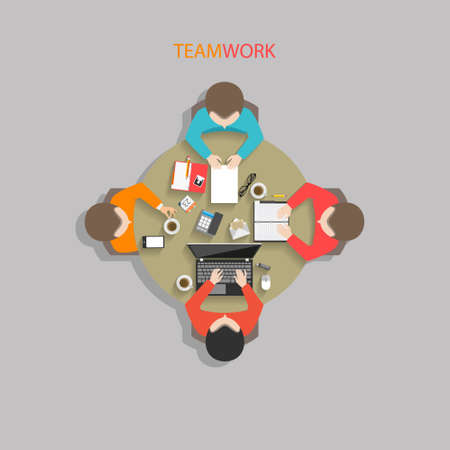 round table: Flat style business management office workers meeting at the round table in top view vector illustration