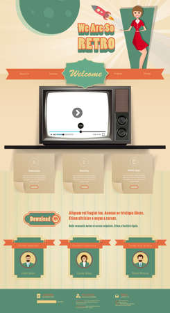 Vintage website template design elements