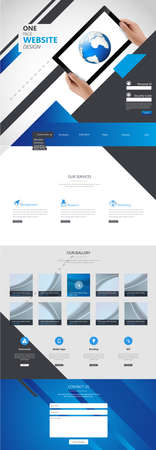 web site design: One Page Business website design template. Vector Design. Illustration