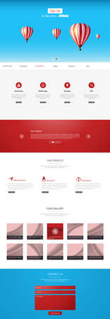 vector web design elements: One Page Business website design template. Vector Design. Illustration