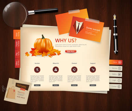 magnyfying glass: Autumn theme website template design vector Illustration