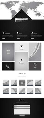 vector web design elements: Trendy One page website design template. Vector Design.