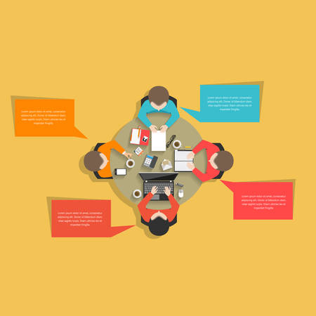 computer work: Flat style business management office workers meeting at the round table in top view vector illustration