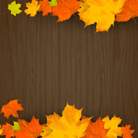birch leaf: Autumn birch leaf on a wooden background vector Illustration