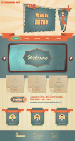 Sitio web Vintage elementos de diseño de plantilla Ilustración de vector