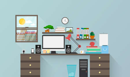 Vector illustration of a modern workplace in room. Creative workspace with office equipment, elements, objects. Illustration