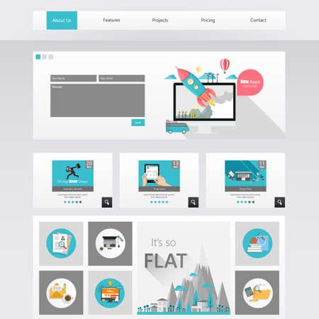website template: Website Design Template Vector Modern Flat
